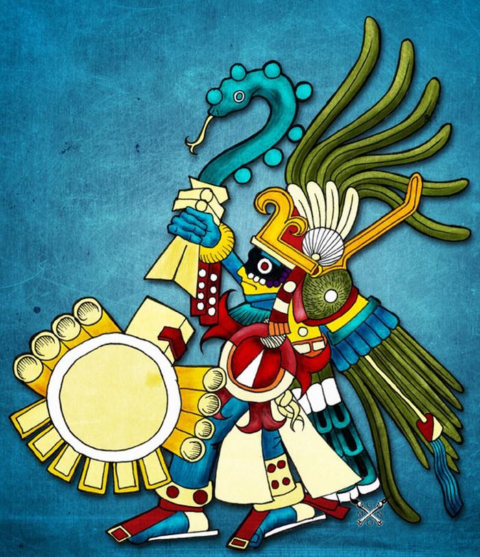 Thần Mặt trời Huitzilopchtli  được miêu tả vô cùng đáng sợ  văn hóa của người Aztec