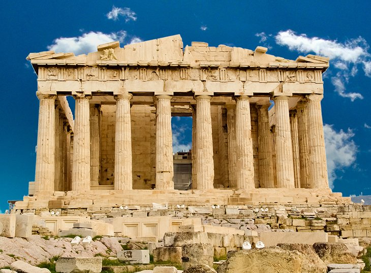 The Acropolis, a fortified citadel built atop a massive limestone hill, dominates the city of Athens, Greece