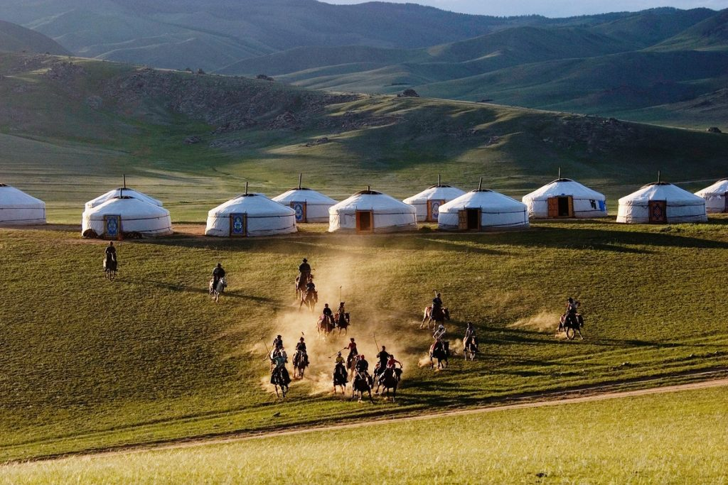 The Mongol Empire existed during the 13th and 14th centuries; it became the largest contiguous land empire in history.